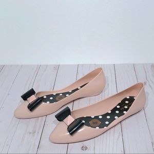 Kate Spade Jelly Ballerina Flats 8 Pink Black Bow